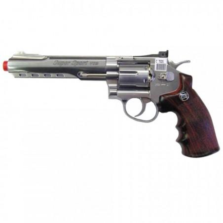 """REVOLVER CO2 6"""" SILVER (C 702S) - WIN GUN"""