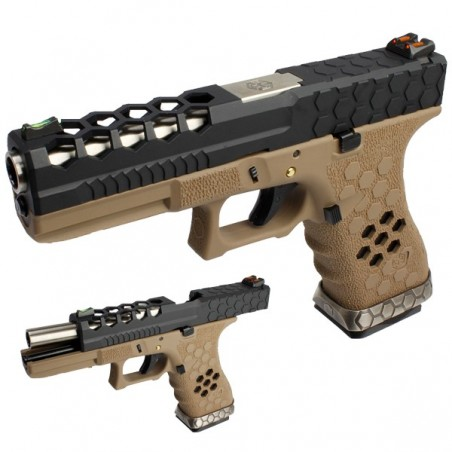 PISTOLA ARMORER WORKS G17 HEX-CUT NEGRA-TAN