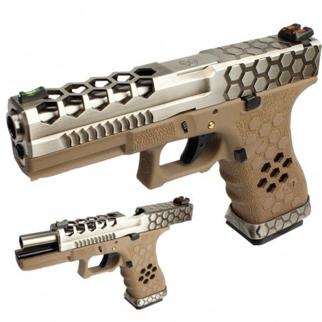 PISTOLA ARMORER WORKS G17 HEX-CUT PLATA-TAN