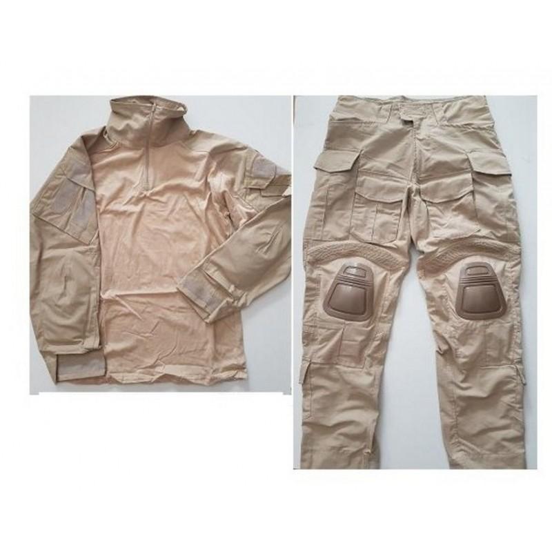 4c6c2584e2e6b Uniforme DELUXE combat completo ESTILO navy seal 3d sand tan XL