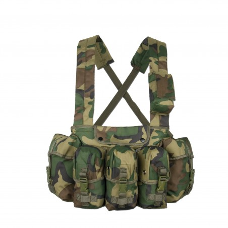 Mil-Tec chest rigg 6 bolsillos woodland